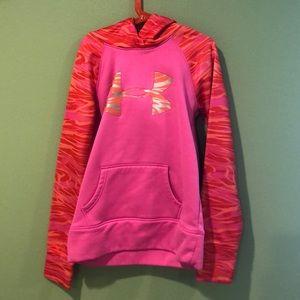 Pink and orange under armor sweatshirt